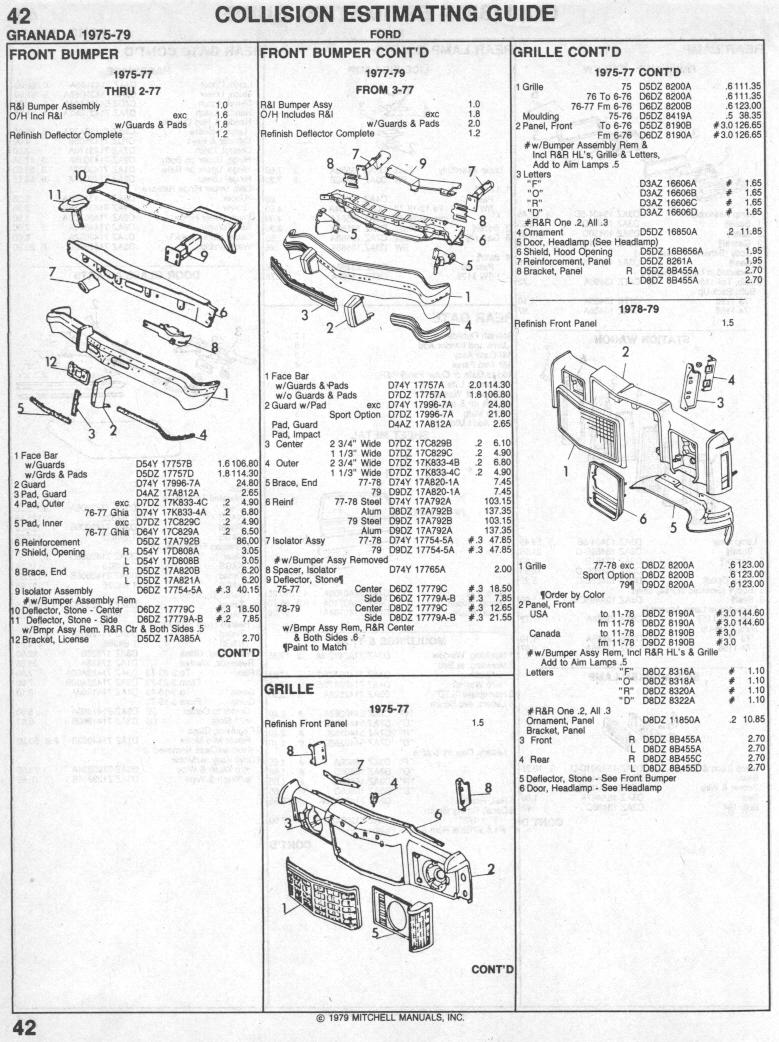 ford granada parts list ford granada 1975 1979 collision parts list page 1